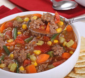 Spoonful of Vegetable Beef Soup Royalty Free Stock Images