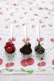 spoonfuls шоколада вишен торта Стоковая Фотография