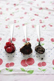 Spoonfuls of cherries,chocolate cake and chocolate Stock Photography