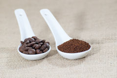 Spoons with beans and ground coffee Stock Image