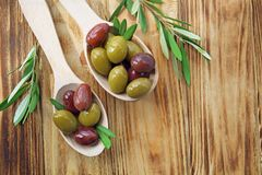 Spoons with canned olives Stock Photography