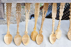 Spoons - carved in wood Royalty Free Stock Photo