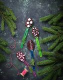 Spoons with chocolate. Christmas present. For children. Top view Royalty Free Stock Photo