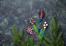 Spoons with chocolate. Christmas present. For children. Top view Stock Image