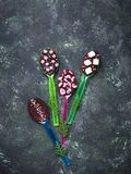 Spoons with chocolate. Christmas present. For children. Top view Stock Photography