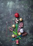Spoons with chocolate. Christmas present. For children. Top view Royalty Free Stock Photography