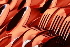 Spoons and forks Stock Image