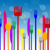 Spoons Forks Represents Knife Utensils And Cutlery Royalty Free Stock Photography