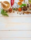 Spoons with herbs and spices. Collection of herbs and spices on a wooden background with space for text stock image