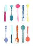 Spoons Knifes and Forks Silverware Colorful Fun. Hand drawn ornate dinnerware cutlery collection illustration.  on white. Transparent shadows Royalty Free Stock Image