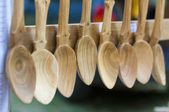 Spoons made of wood Royalty Free Stock Photography