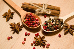 Spoons with a mixture of grains of pepper, cinnamon and star ani Royalty Free Stock Photos