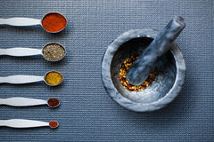 Spoons and a mortar and pestle with spices Royalty Free Stock Image