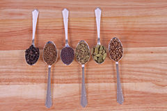 Spoons Of Spice. Six different whole spice seeds in silver spoons on a wooden chopping board Royalty Free Stock Photo