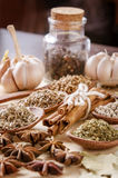 Spoons and spices on cutting board Royalty Free Stock Photography