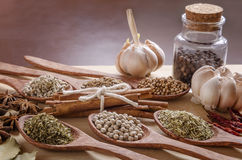 Spoons and spices on cutting board Royalty Free Stock Images