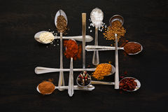 Spoons with spices Stock Photos