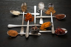 Spoons with spices Royalty Free Stock Images