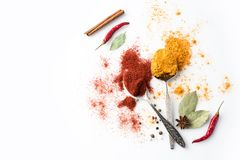 Spoons with paprika and curry Royalty Free Stock Photos