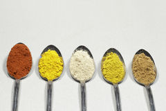 Spoons with spices powder. Clear space on top Stock Photography