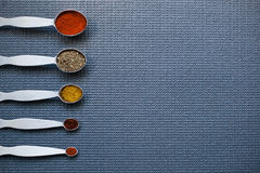 Spoons with spices Stock Image