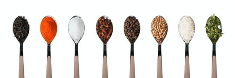 Spoons with spices Royalty Free Stock Photography