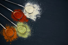 Spoons with various spices. On a dark background. Colorful mix of spice. Top view. Selective focus Stock Photography