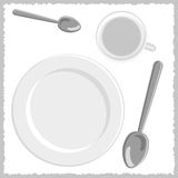 Spoons, white plate and cup set Royalty Free Stock Image