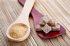 Spoons With Different Kinds Of Brown Sugar Royalty Free Stock Photography