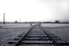 Spoor in Auschwitz/Birkenau Stock Afbeeldingen