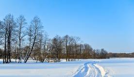 Spoor in diepe sneeuw Stock Afbeeldingen