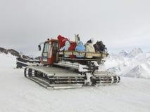Spoor en skiërs in het hele land Royalty-vrije Stock Afbeeldingen