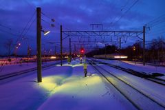 Spoor en sneeuw Stock Foto