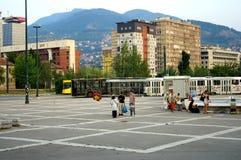 Spoor en trampost, Sarajevo, Bosnië - Herzegovina Stock Foto