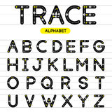 Spoor rond gemaakte alfabethoofdletters Stock Foto's