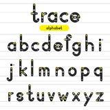 Spoor rond gemaakte alfabetkleine letters Royalty-vrije Stock Foto's