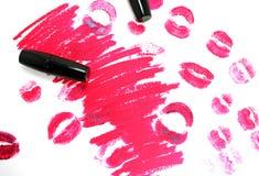 Spoor van lippenstift Stock Foto