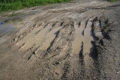 Spoor van vrachtwagenwiel op modder Royalty-vrije Stock Afbeeldingen