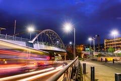Spoorbrug Sheffield het UK stock foto