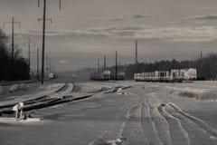 Spoorlandschap het sneeuwen BW Stock Fotografie