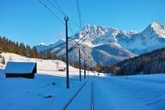 Spoorlijn aan bergen in de winter Stock Fotografie