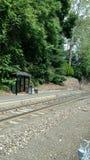 Spoorpost op een Zaterdag Ochtend royalty-vrije stock foto