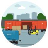 Spoorvervoer Levering en logistische procesbanners Pakhuis vectorillustratie Stock Foto's