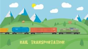 Spoorvervoer op de zomerlandschap Vlak Ontwerp Stock Foto