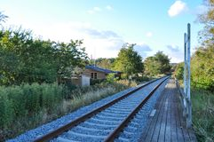Spoorweg in Aalborg Denemarken stock fotografie