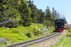 Spoorweg aan Brocken-Berg Stock Afbeeldingen