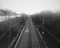 Spoorweg aan de horizon Royalty-vrije Stock Afbeeldingen