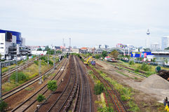 Spoorweg in aanbouw Stock Fotografie