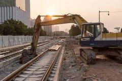 Spoorweg in aanbouw royalty-vrije stock afbeeldingen