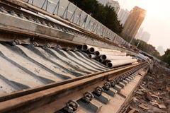 Spoorweg in aanbouw stock foto's